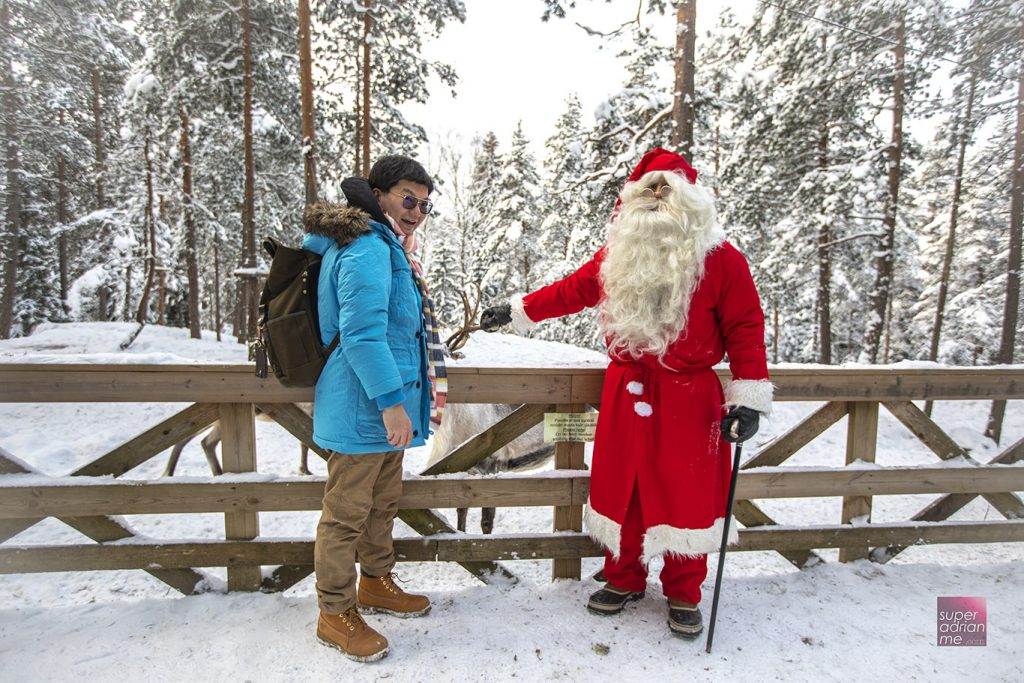 Layer up in winter. And hello Santa in Nuuksio, Finland