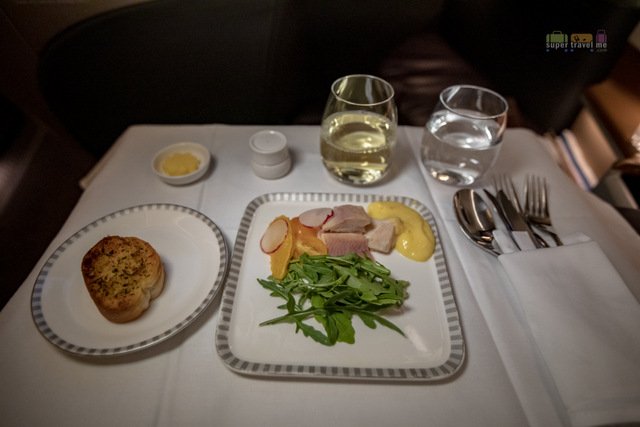 Singapore Airlines Business Class Appetiser - Smoked Trout with Orange Wedges