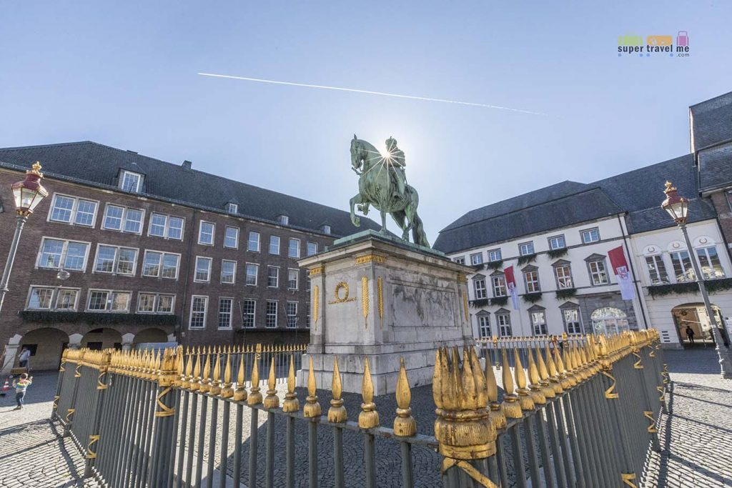 Jan Wellem Equestrian Statue at Marktplatz in front of the city hall in Alstadt, Düsseldorf, Germany