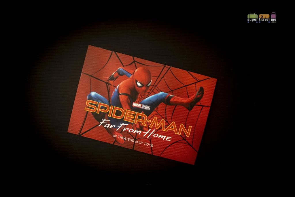 A Spider-Man: Far From Home postcard is included in the new amenity kit.