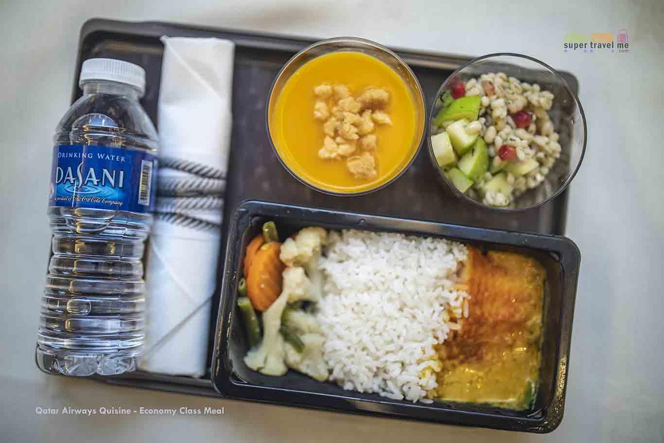 Qatar Airways Quisine Economy Class Meal Presentation
