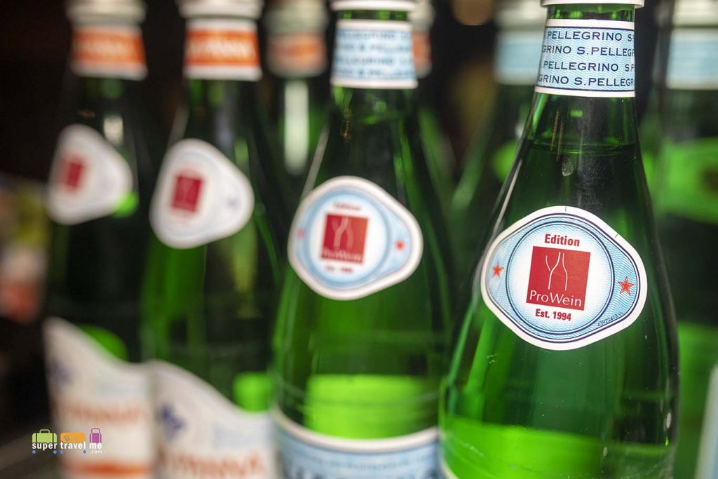 Acqua Panna and San Pellegrino in glass bottles at Capella Breidenbacher Hof Düsseldorf