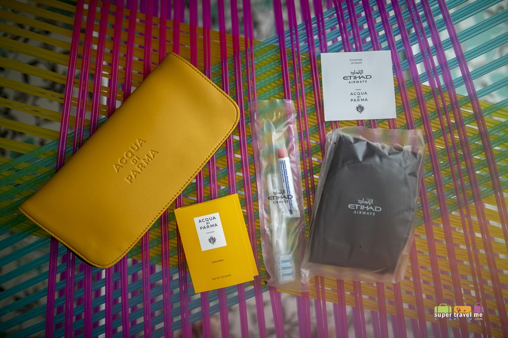 Etihad Airways ACQUA DI PARMA Business Class amenity kit contents