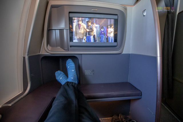 Business Class seats which do not have any seats in front of them have more leg room space.