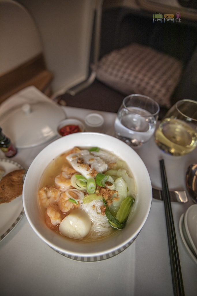 Singapore Airlines Business Class - Seafood and Rice Noodles Soup