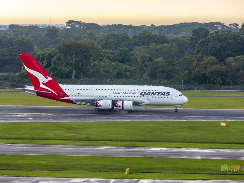 Qantas A380 landing in Singapore Changi Airport