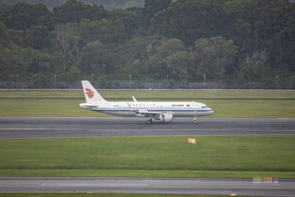Air China landing in Changi Airport