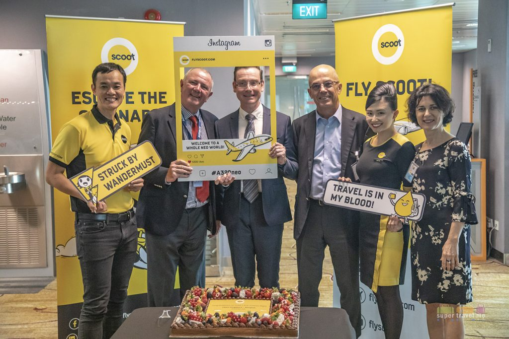 Scoot's A320neo inaugural flight celebrations prior to flight at the gatehold in Changi Airport