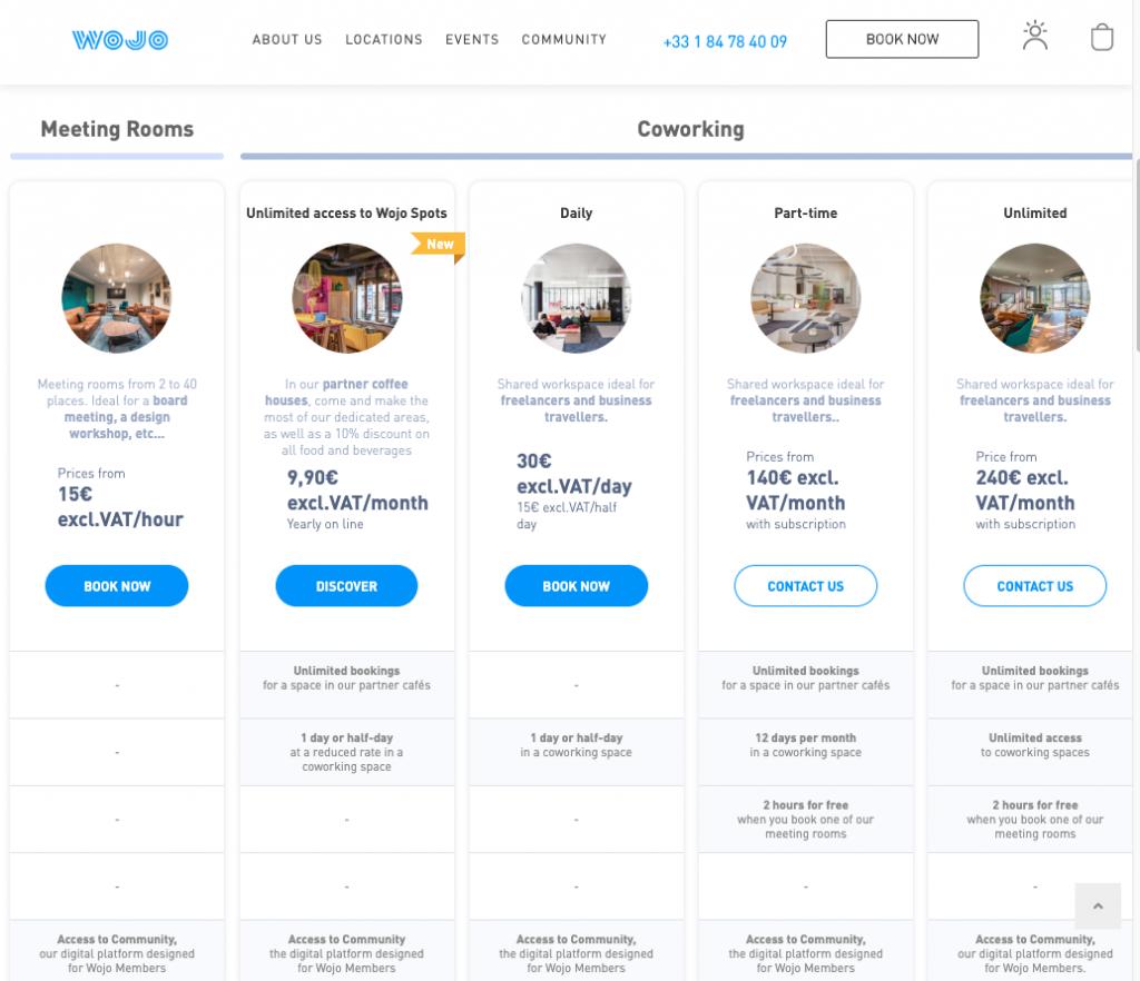 Screen Shot of WOJO Price Plans
