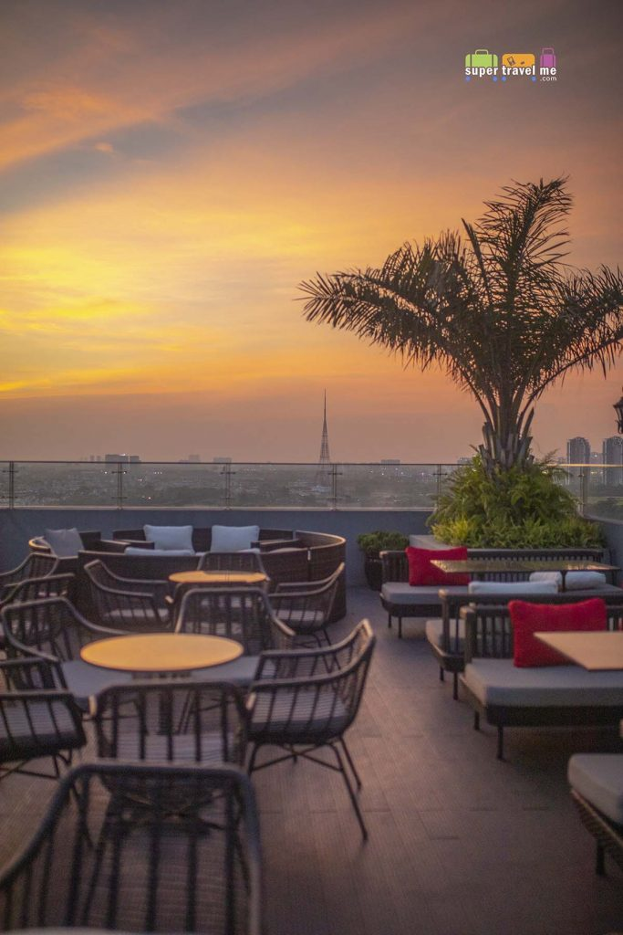 Sunset view from the rooftop bar Twilight of Wyndham Garden Hanoi